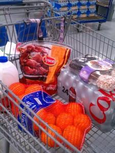 groceries in basket