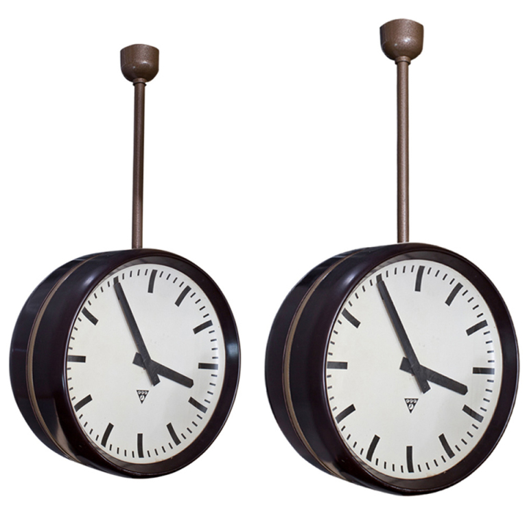 Double faced station clock - 1st dibs