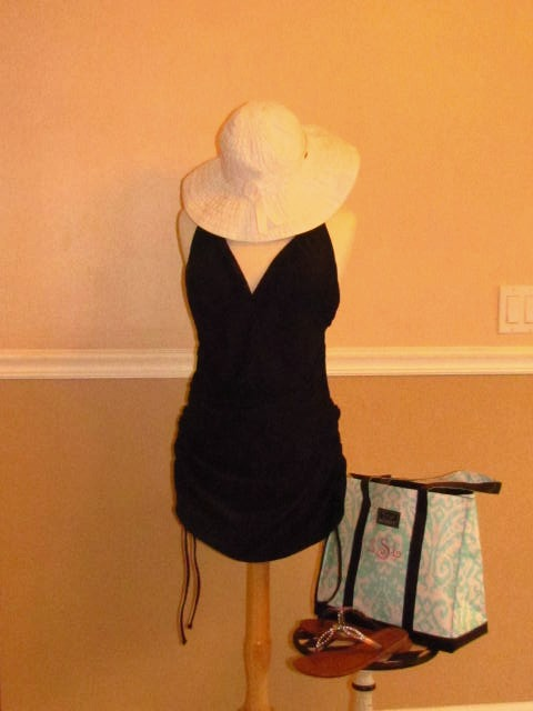 Bathing Suit: Always for Me, Hat: Dorfman Pacific, Bag: Scout, Sandals: ? bought at Stein Mart
