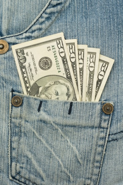 Money in the jeans pocket