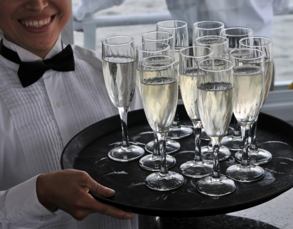 champagne on a tray
