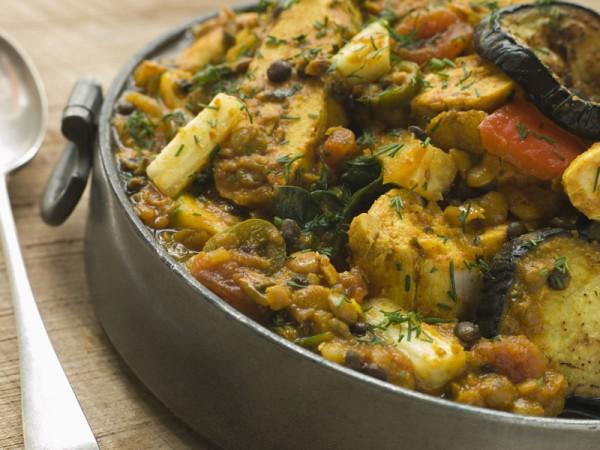 Pewter Dish Of Vegetable Dhansak