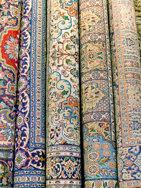 Indian carpets are rolled into coils