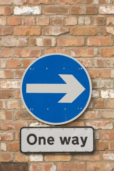 Close-up of One way sign