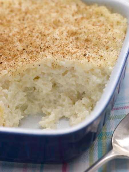 Dish of Creamed Rice Pudding with Nutmeg