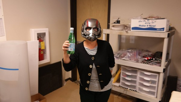 Even in the Ant Man helmet I have a bottle of bubbly.