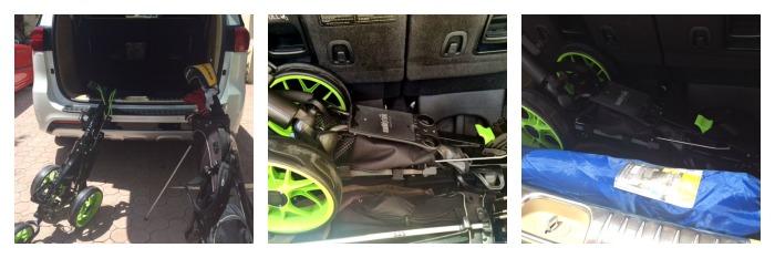 golf clubs in trunk