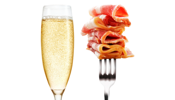 champagne and meat