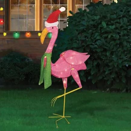 pre-lit flamingo
