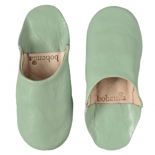 Green Moroccan Leather Slippers - ladies