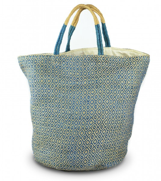 Jute bag- blue diamonds