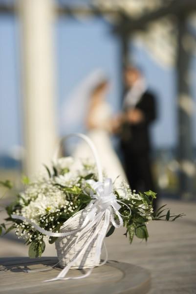 Flower basket at wedding.