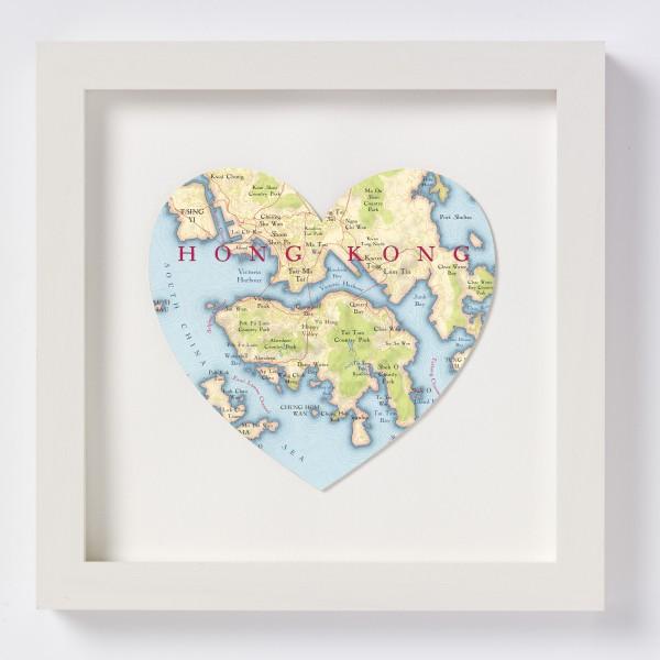 Hong Kong Heart Map - Off White