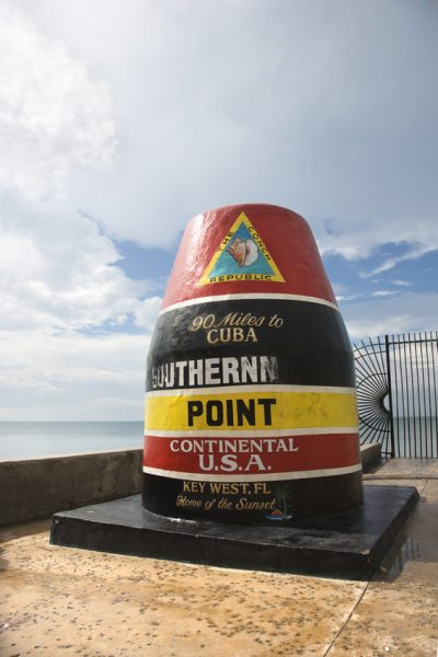 Southernmost point landmark of Key West, Florida.