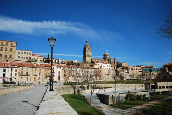 View To Salamanca (Cathedral) from Puente Romano, Spain